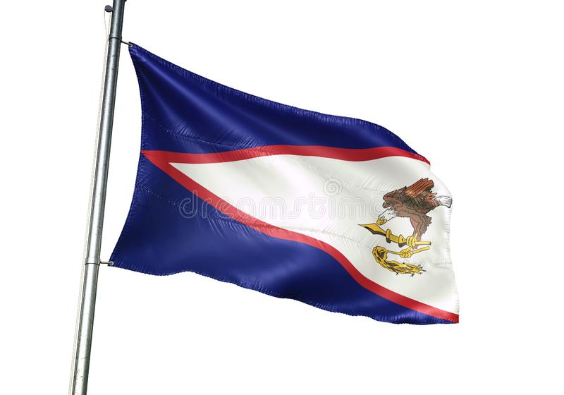 American Samoa national flag waving isolated on white background realistic 3d illustration vector illustration
