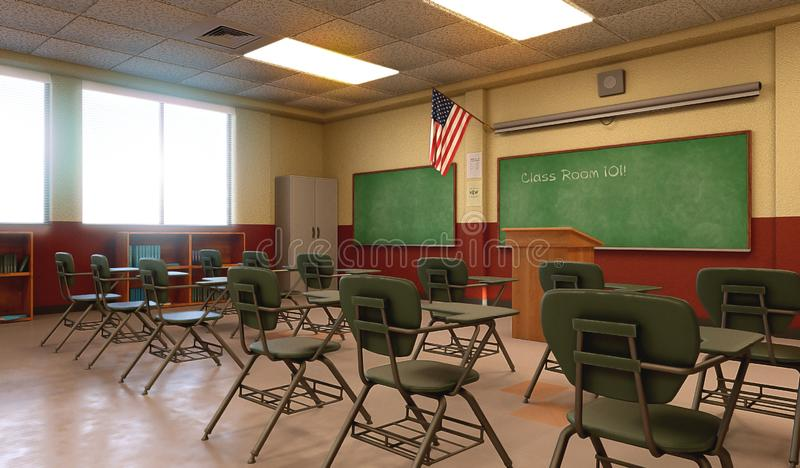 American School Classroom Environment Empty royalty free illustration