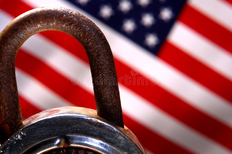 American Security Padlock and American Flag stock images
