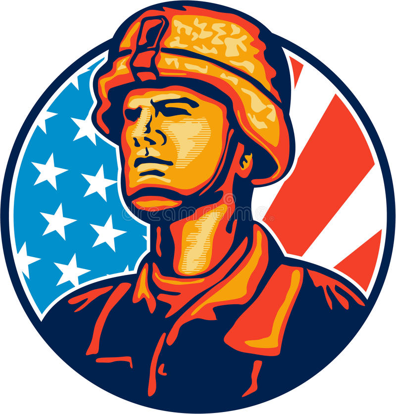 American Serviceman Soldier Flag Retro Stock Image