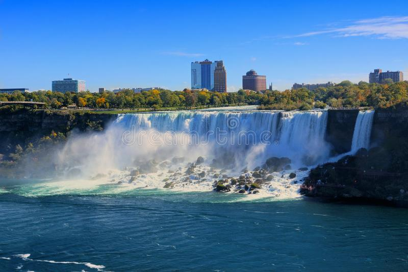 American Niagara Falls in late afternoon during autumn, New York state, USA. American side of Niagara Falls in late afternoon light during autumn, New York state stock image