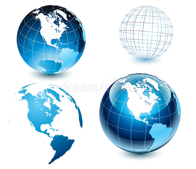 American side of the world-globe. Set of highly detailed glossy Earth-globes stock illustration