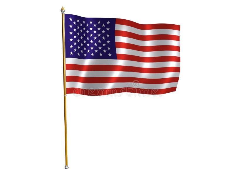 American silk flag. Silk flag of America royalty free illustration