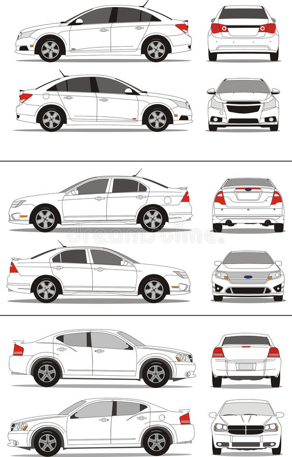 American small compact sedan car vector illustration