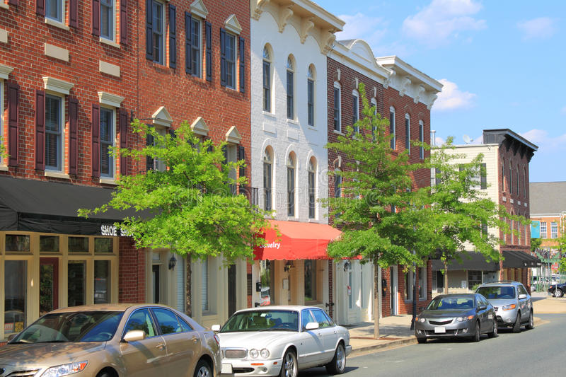 American Small Town. Center with small business shops stock images
