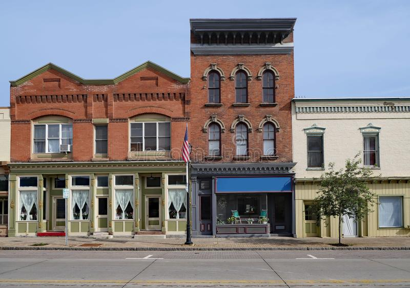 Old fashioned main street storefronts stock photo