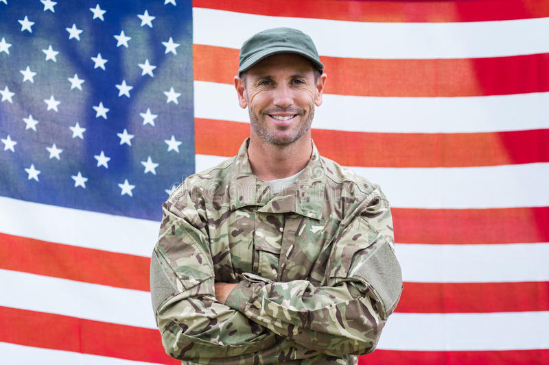 American soldier holding recruitment sign stock image