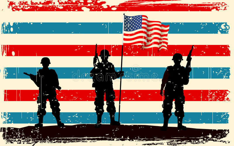 American soldier standing with American flag vector illustration