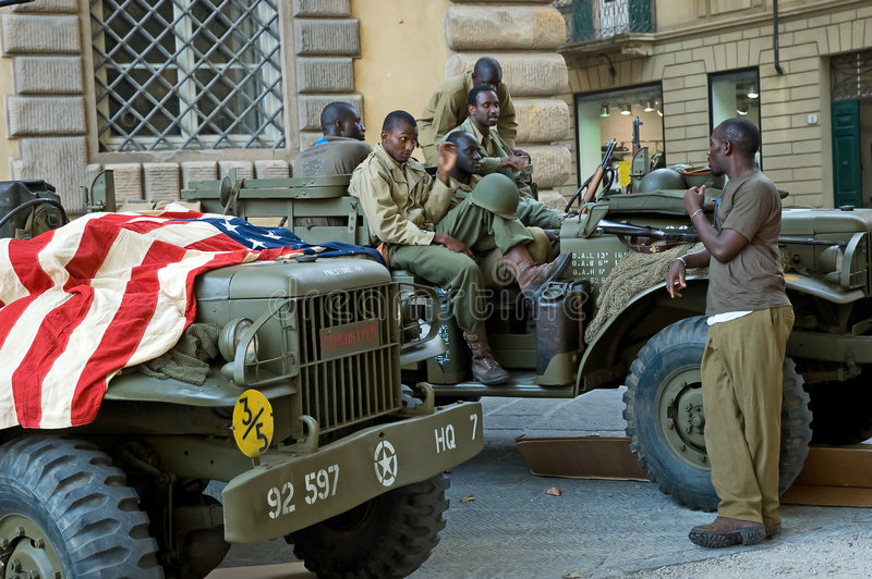 American soldiers military vehicle flag royalty free stock photography