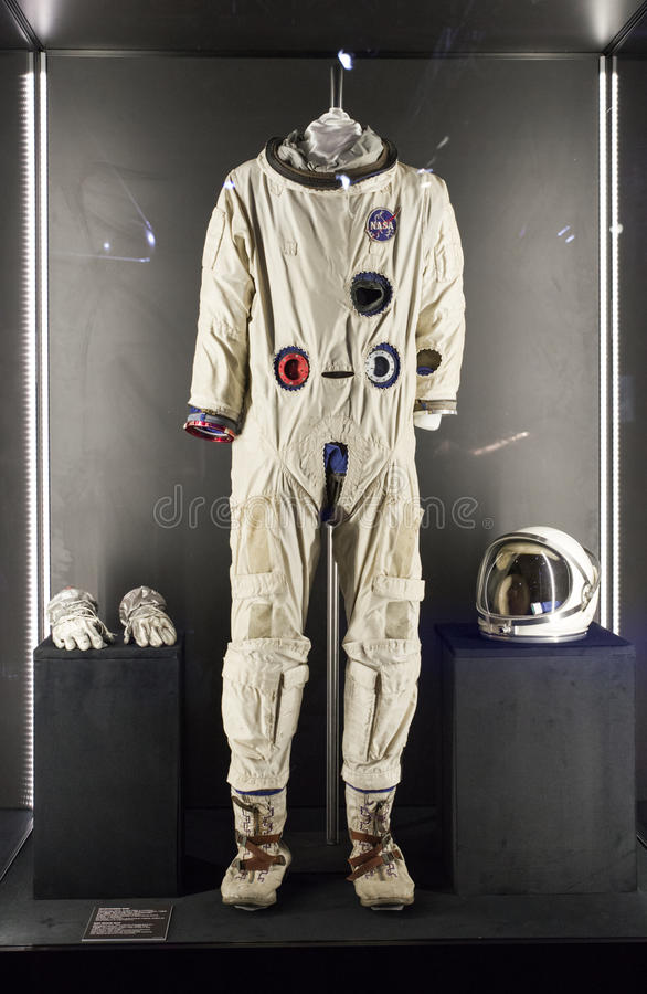 American space suit at exhibition Cosmos royalty free stock images