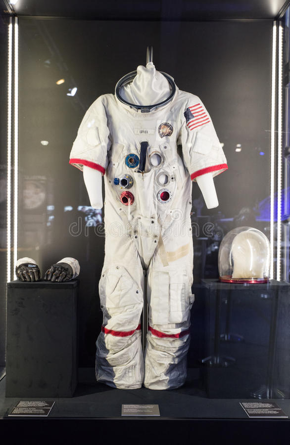 American space suit at exhibition Cosmos royalty free stock photography
