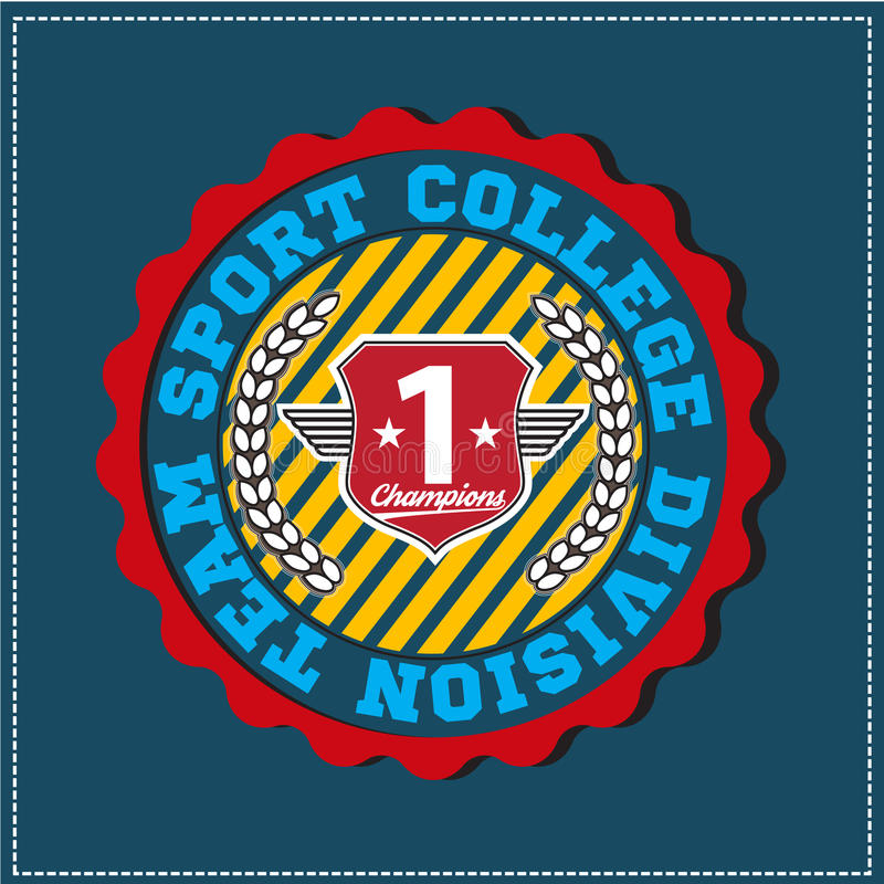 American sport college varsity team division champions logo, emblem, label. Very easy to use for apparel.  royalty free illustration