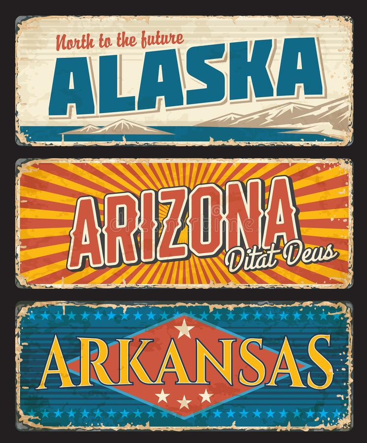 Free American States Alaska, Arizona And Arkansas Set Royalty Free Stock Images - 214065819