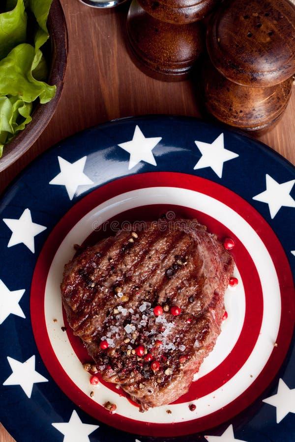 American steak red bell pepper, sea salt, grill stock image