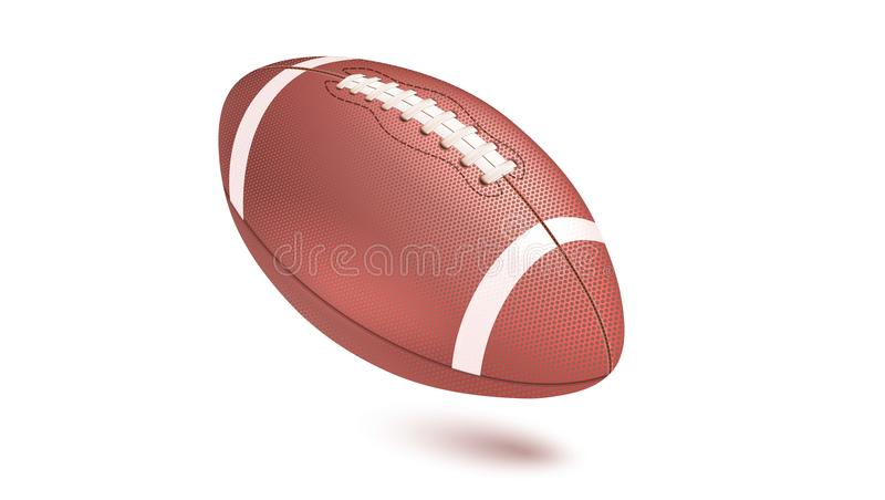 American striped football ball, diagonal position in frame. vector illustration
