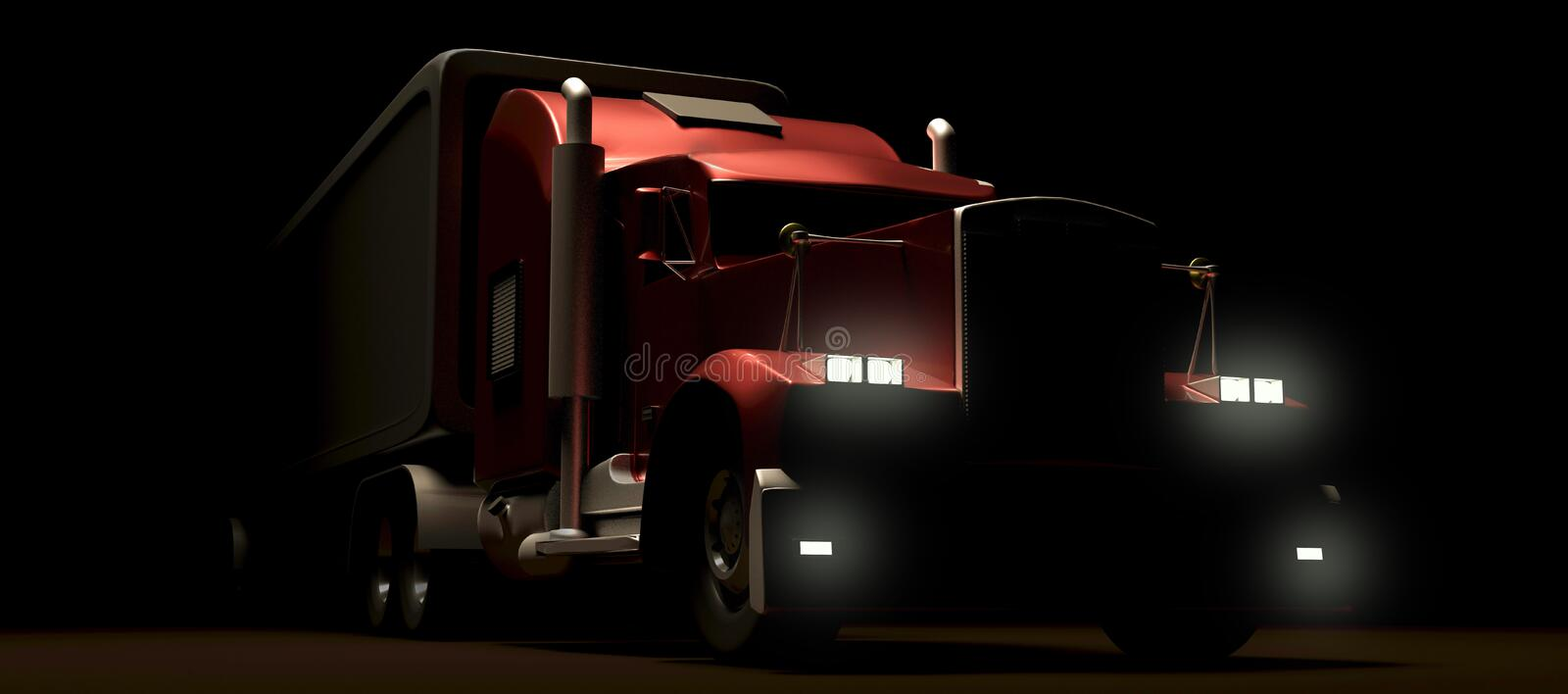 American style red truck at night. Semi Truck with Cargo Trailer. 3D rendering.  royalty free illustration