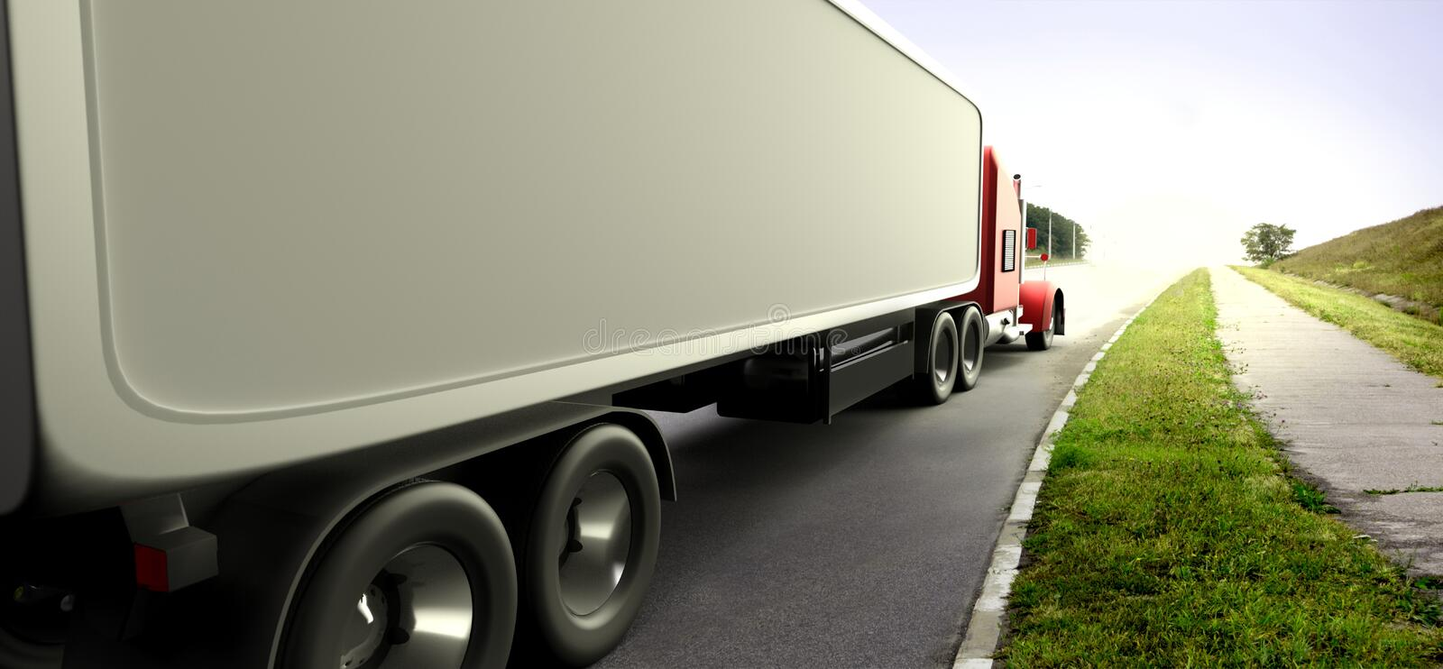 American style red truck. Semi Truck with Cargo Trailer. 3D rend. Ering vector illustration