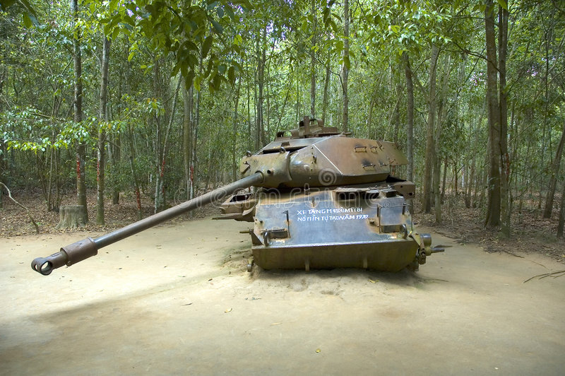 American Tank destroyed by Viet Congs royalty free stock images