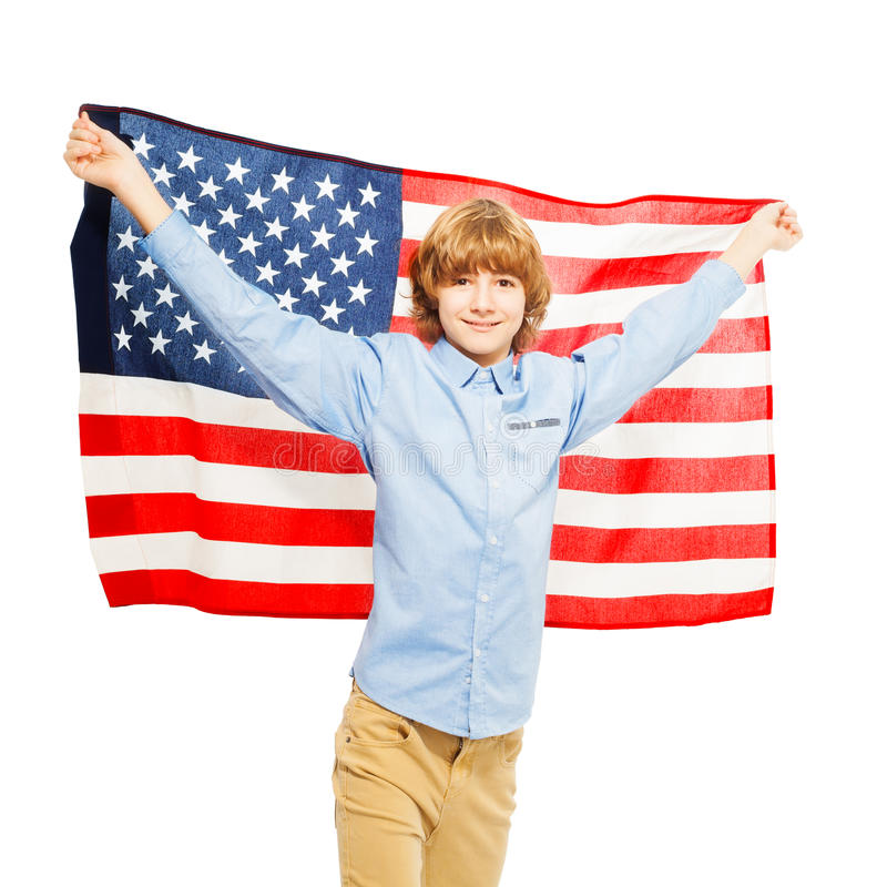 American teenage boy waving star-spangled banner. Picture of American teenage boy waving star-spangled banner, isolated on white background royalty free stock photos