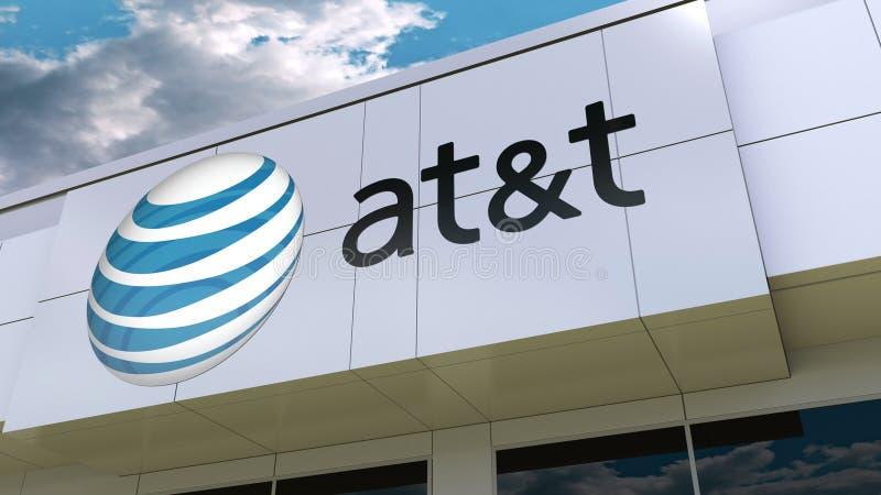 American Telephone y Telegraph Company EN el logotipo de T en la fachada moderna del edificio Representación editorial 3D ilustración del vector