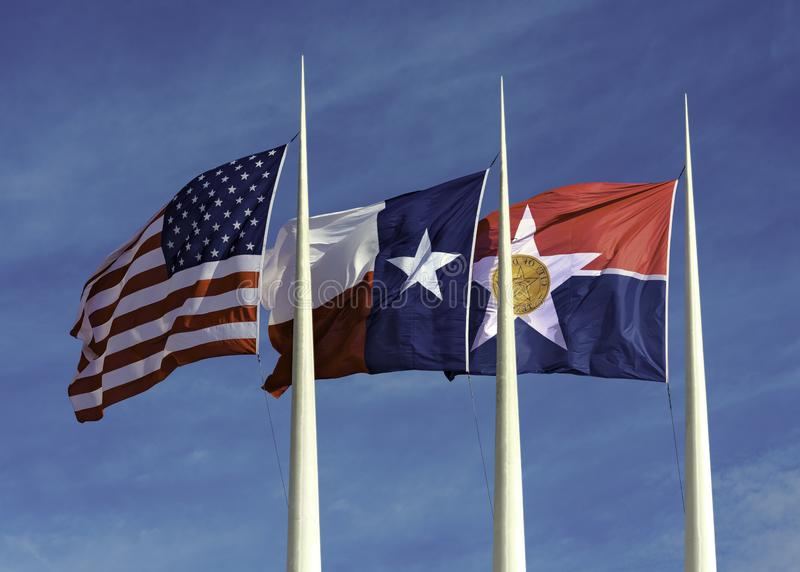 American, Texas and City of Dallas Flags stock image