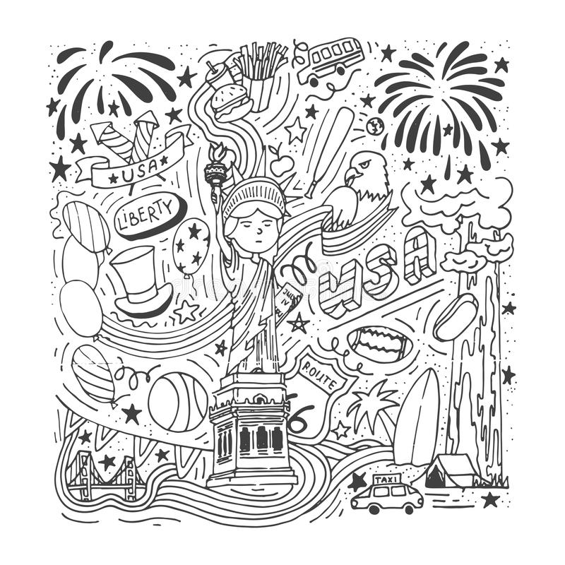 American theme doodle set. Hand drawn USA symbols for Independence Day, Labor Day, Presidents` Day etc. royalty free illustration