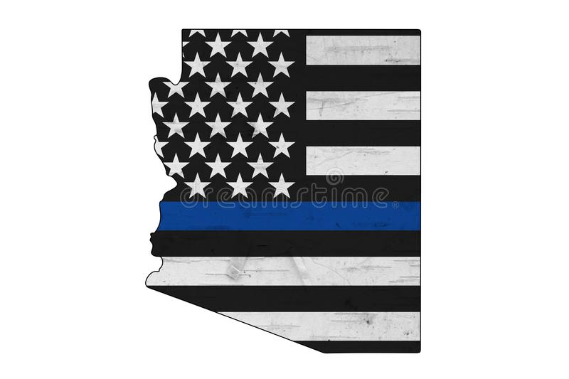 American thin blue line flag on map of Arizona stock photo
