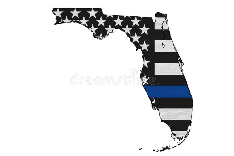 American thin blue line flag on map of Florida. For your support of police officers royalty free stock photo