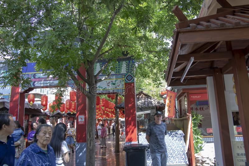 American tourists on crowded streets at Yongxingfang Intangible royalty free stock image