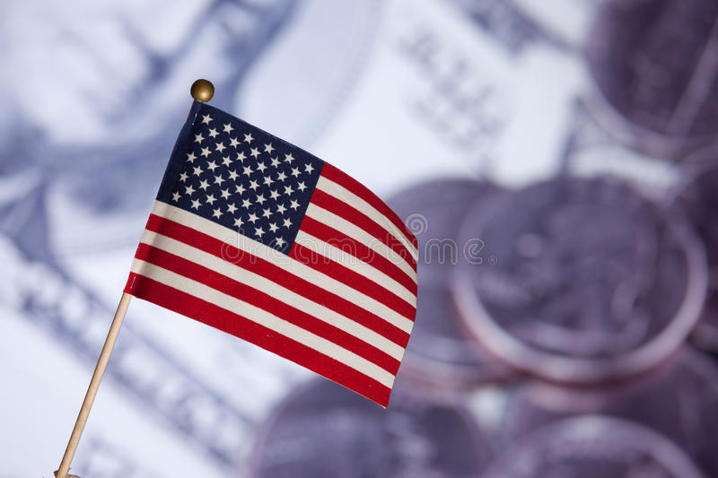 Download American Toy Flag Over US Dollars Banknotes. Stock Image - Image: 15936723