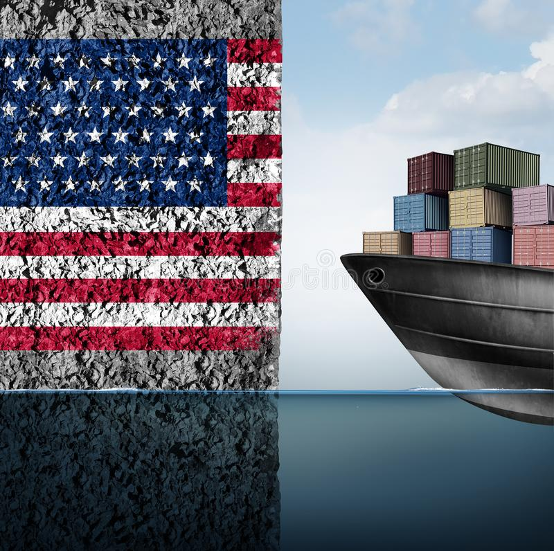 American Trade Barrier. And tariff war in the United states as a cargo ship facing a wall as an economic taxation problem over import and exports concept as a stock illustration