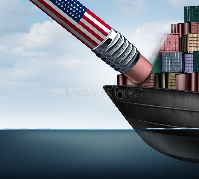 American Trade Deficit Reduction stock illustration
