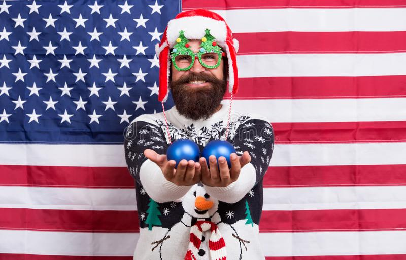 American tradition. Santa Claus on american flag. Celebrate xmas and new year in patriotic way. Tradition of patriotism stock images
