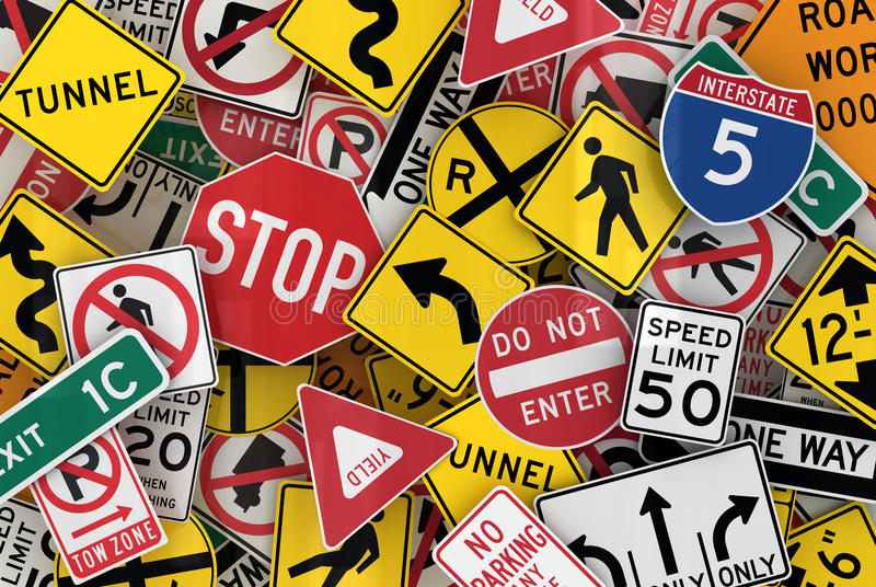 American Traffic Signs vector illustration
