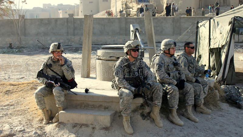 American troops resting stock image