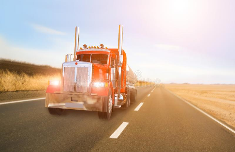 American truck on road. Speed stock photo