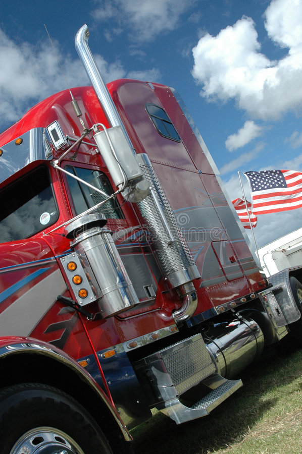 American truck with stars and stripes flag royalty free stock images