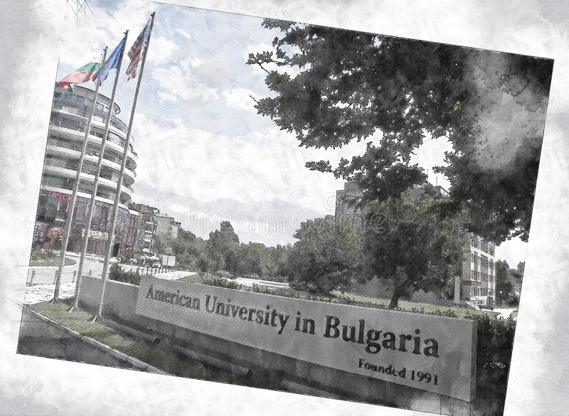 American University in Bulgaria, Entrance Campus Skaptopara, Blagoevgrad, Bulgaria. American University in Bulgaria, Entrance Campus Skaptopara, Blagoevgrad stock illustration