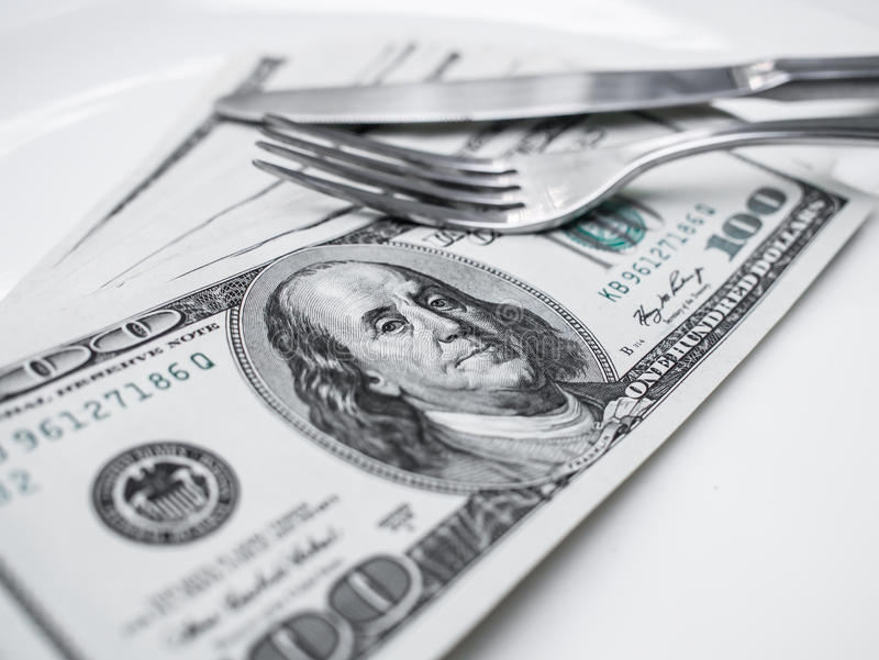 American US dollars. On the white plate stock images