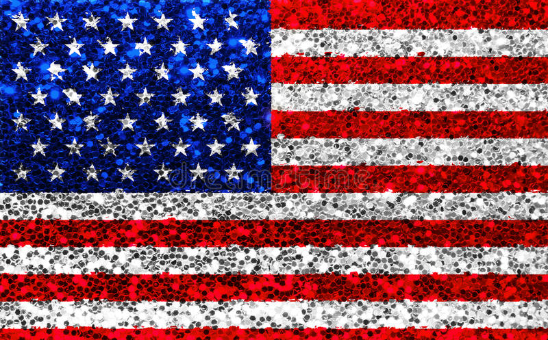 American USA fabric glitter flag, sparkle stars and stripes. Closeup of american USA fabric glitter flag, sparkle stars and stripes, texture of united states of royalty free stock photo