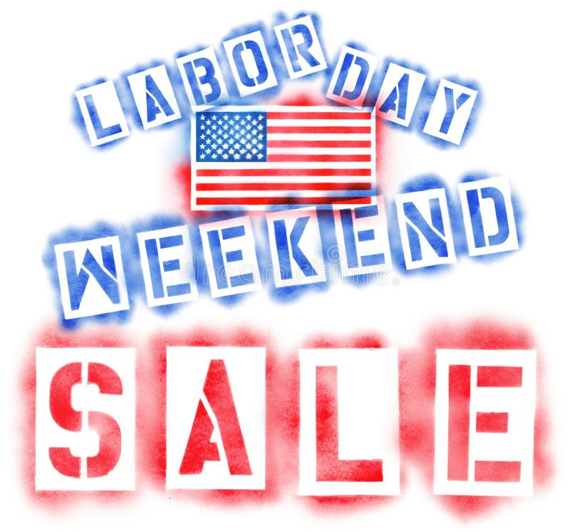 American USA flag and Labor Day Weekend Sale text in red, white, and blue spray paint stencils on white. American USA flag and Labor Day Weekend Sale text in red stock images