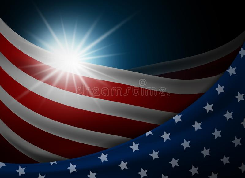 American or USA flag with light background vector illustration stock illustration