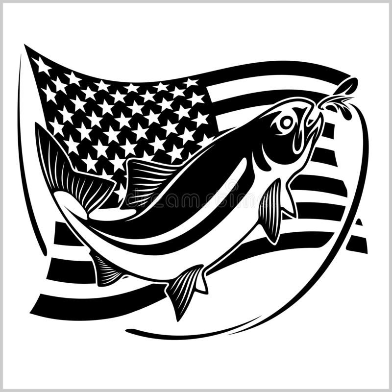 American USA flag vector illustration tarpon fishing. Isolated on white vector illustration