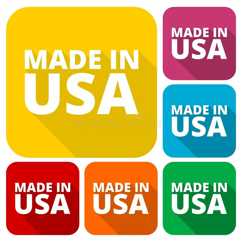 American USA Made text design icons set with long shadow stock illustration