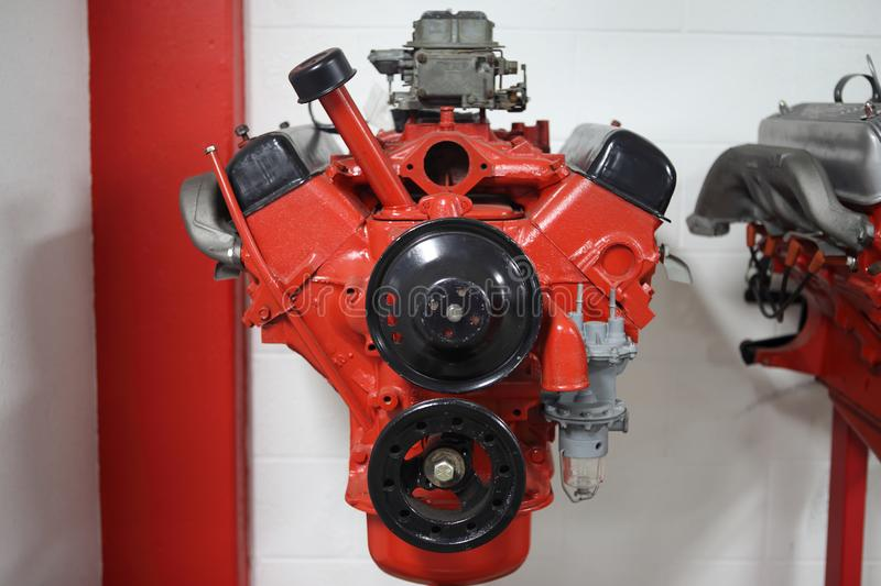 American V8 combustion engine on display. At an automotive shop royalty free stock photos