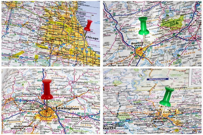 Maps travel America highways royalty free stock photo