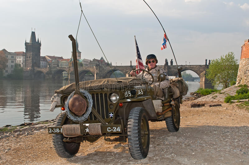 American Veteran and Jeep royalty free stock photo