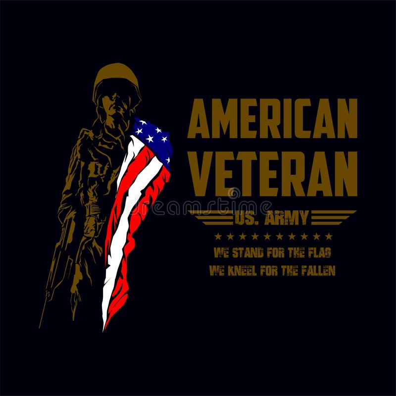 American Veteran Soldier With American Flag royalty free stock image