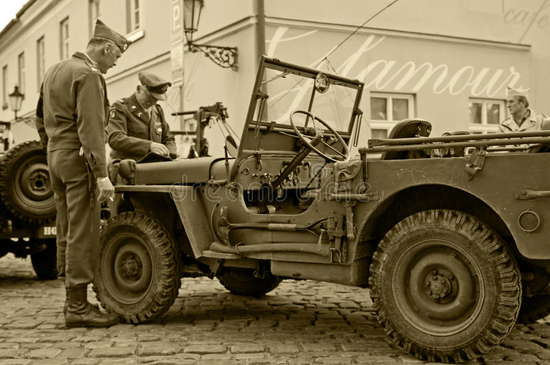 American Veterans and Jeeps royalty free stock photography