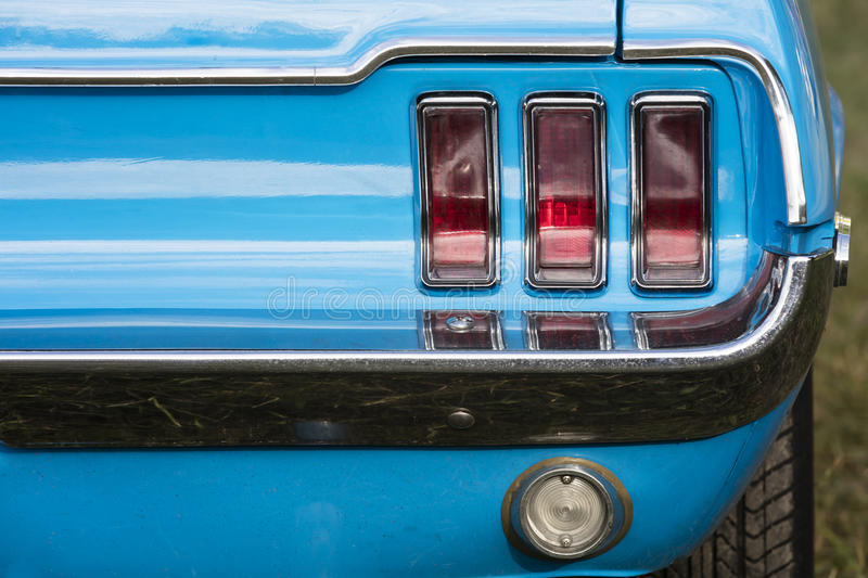 American vintage car, rear view. Ford Mustang, american vintage car, rear view stock photo